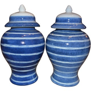 Indigo & White Striped Ginger Jars - A Pair