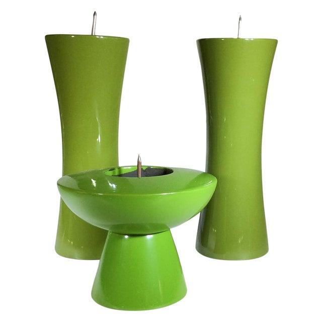 Image of MCM Takahashi 1960s Green Candlesticks - Set of 3