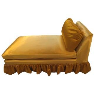 Mid-Century Skirted Gold Velvet & Silk Chaise