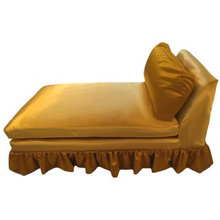 Mid-Century Skirted Gold Velvet & Silk Chaise