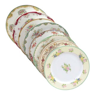 Vintage Mismatched Fine China Dinner Plates - Set of 8