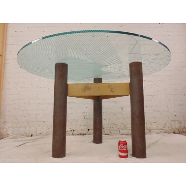 1986 Modernage Miami Postmodern Glass & Brass Geometric Dining Table - Image 2 of 6