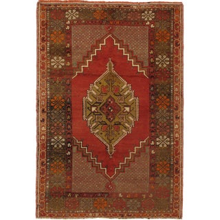 "Vintage Turkish Oushak Hand Knotted Rug - 3'9"" X 5'6"""