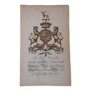 Antique Heraldry Engraving - Baron Henry Noel