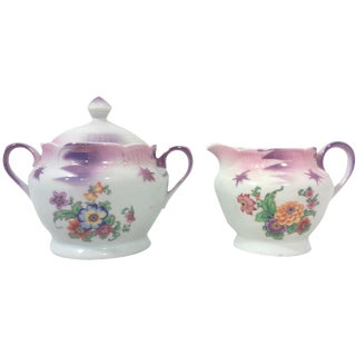 German Art Deco Floral Creamer and Sugar - A Pair