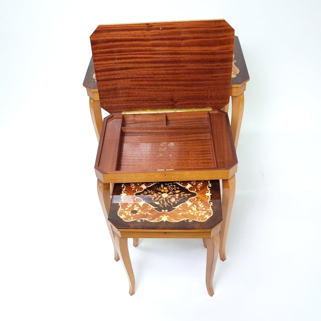 Italian Marquetry Inlay Music Box Nesting Tables - Image 6 of 8