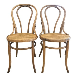 Cane Seat Bistro Chairs In The Style of Michael Thonet- A Pair