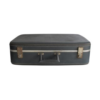 Blue Faux Leather Suitcase
