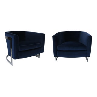 Pair Cantilevered Chrome Barrel Lounge Chairs by Milo Baughman