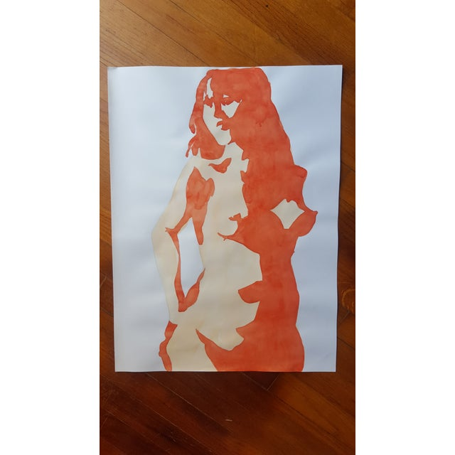 Abstract Female Nude Watercolor - Image 2 of 3