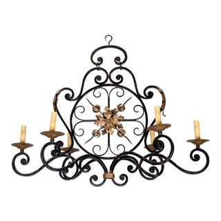 French Six-Light Black Iron Gilded Chandelier