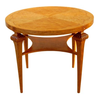 Swedish Art Deco Table in Highly Figured Golden Flame Birch, Circa 1920