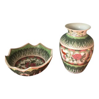 Chinoiserie Green Bowl & Vase - a Pair