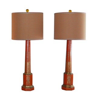 Orange & Gold Lamps W/ Houndstooth Lampshades