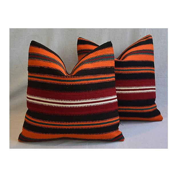 """20"""" Custom Tailored Anatolian Turkish Kilim Wool Feather/Down Pillows - a Pair - Image 10 of 11"""