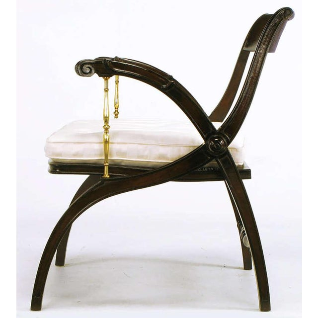 Mahogany and Brass Open-Back Armchair - Image 5 of 9