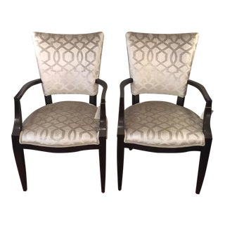 Century Furniture Silver Velvet Transitional Chairs - A Pair