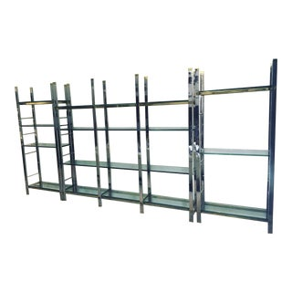 Very Sharp Looking High Quality Mixed-Metal Etageres or Wall Unit