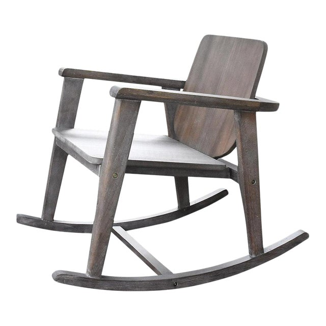 Modern Gray Wooden Rocking Chair - Image 1 of 10