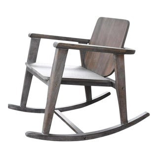 Modern Gray Wooden Rocking Chair