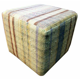 Cube Ottoman with Yellow, Brown, and Blue Stripes