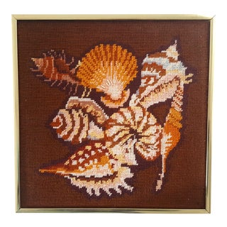 Mid Century Nautical Seashell Needlepoint Framed Art