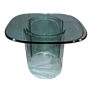 Large Mid-Century Modern Curved Beveled Glass Table