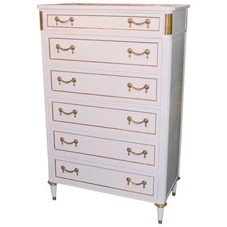 Jansen Directoire White Lacquered Tall Chest