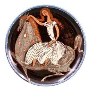 Mid-Century Zahner Rheinfelden Girl Riding a Horse Plate