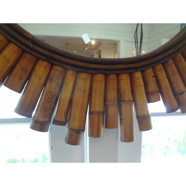 French Split Bamboo Sunburst Mirror - Image 4 of 5