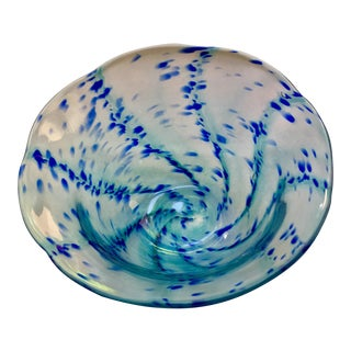Jen Violette Signed Hand Blown Blue Swirl Art Glass Bowl