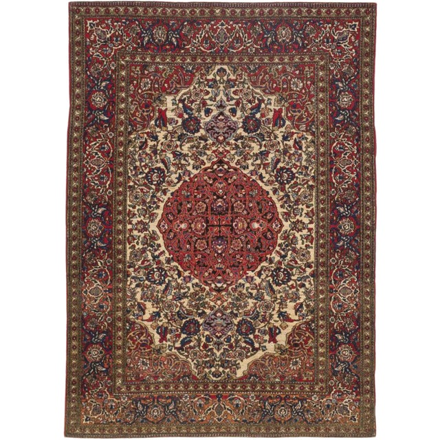 "Antique Persian Isfahan Rug - 4'11"" X 6'10"""