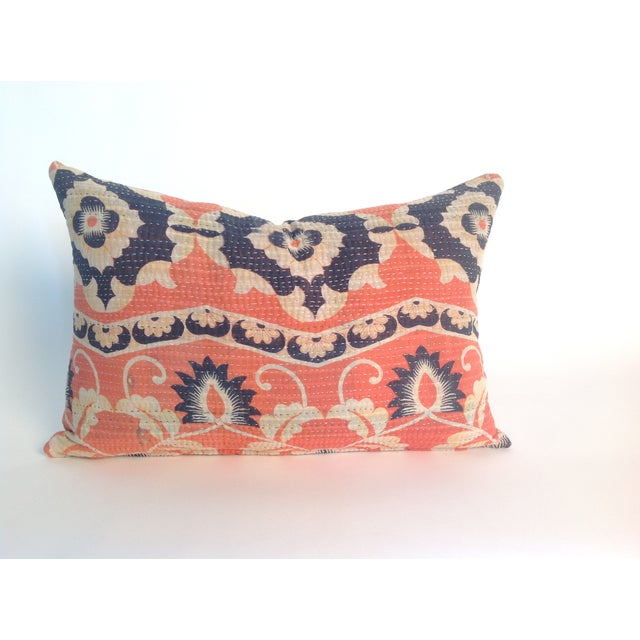 Vintage Coral Block Print Kantha Quilt Pillow - Image 2 of 4