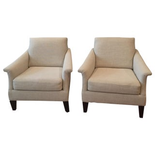 Oatmeal Upholstered Armchairs - A Pair