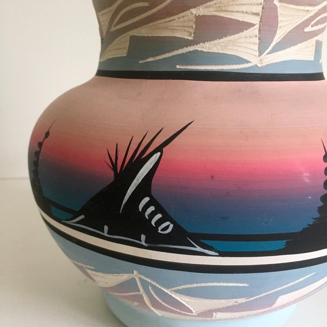 Vintage Signed Navajo Native American Pink Mesa Sunset Hand Painted Pottery Vase - Image 4 of 11