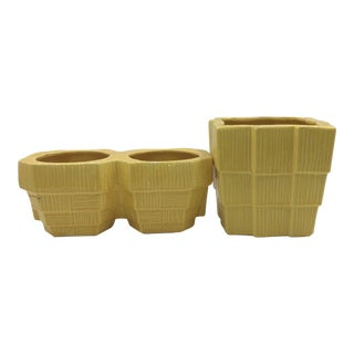 Yellow McCoy Planters - A Pair