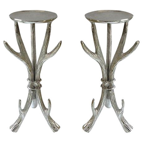 Image of Antler Form Candle Holders - a Pair