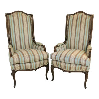 Louis XV Style Wingback Bergeres - a Pair