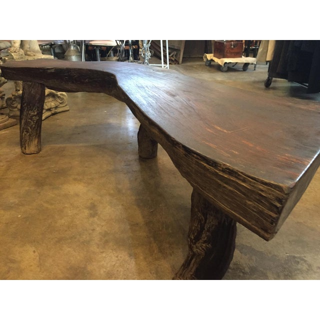 Organic Natural Iron Wood Curved Rustic Bench - Image 7 of 11