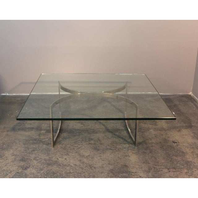 Mid Century Chrome And Glass Coffee Table: Mid-Century Chrome Base & Glass Top Coffee Table