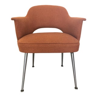 Saarinen Knoll Style Orange Fabric Executive Armchair