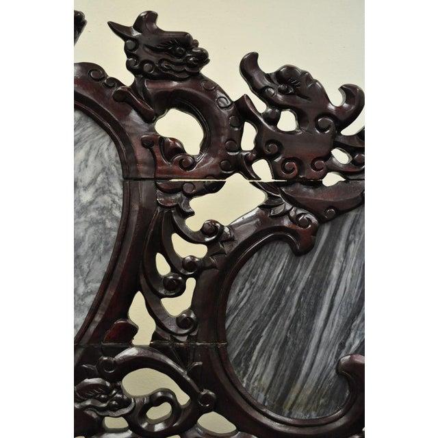 Vintage Chinese Japanese Dragon Carved Mahogany Marble Back Parlor Sofa - Image 8 of 10