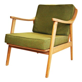 Mid-Century Green & Blonde Lounge Chair