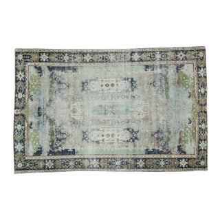 "Distressed Oushak Green Rug - 3'10"" X 6'1"""