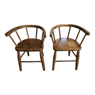 Antique Oak Children's Chairs - A Pair