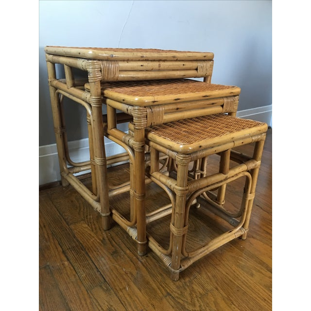 Rattan Nesting Tables ~ Vintage rattan nesting tables set of chairish