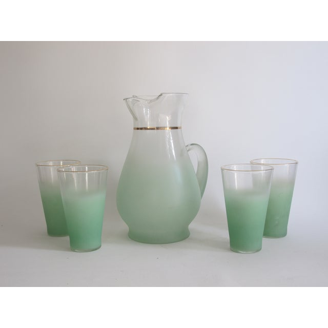 Image of Green Glass Entertaining Pitcher & Glasses - Set of 5