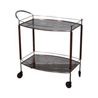Mid Century Modern Italian Walnut Brass & Glass Serving Cart