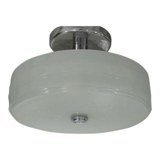 Sober Mid-Century Milk Glass Ceiling Fixture