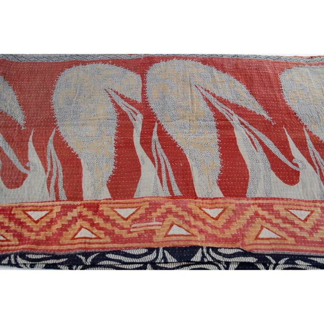 Red and Ebony Vintage Kantha Throw - Image 3 of 4